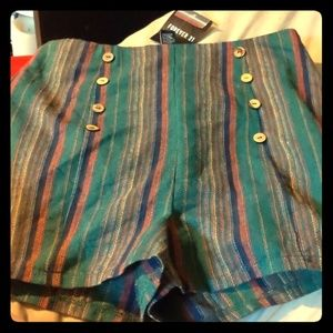 Forever 21 Shorts - High waist, zip up side green/navy woven shorts